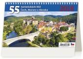 55 turistických nej Čech, Moravy a Slezska - stolní kalendář 2018